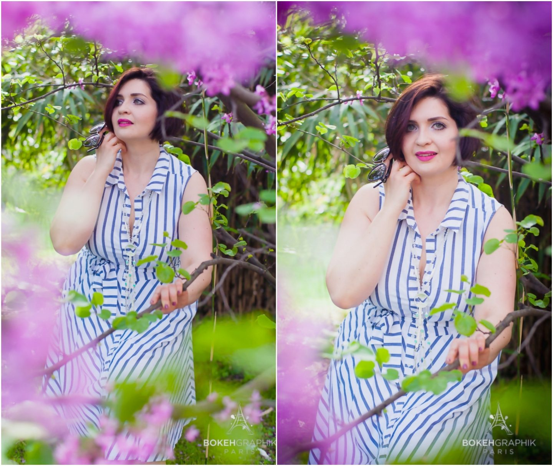 la robe rayée blanche et bleue