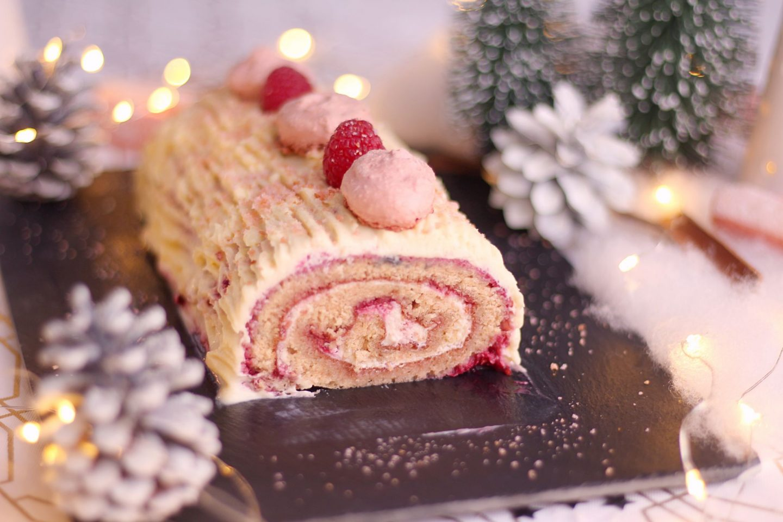 raspberry and white chocolate christmas log